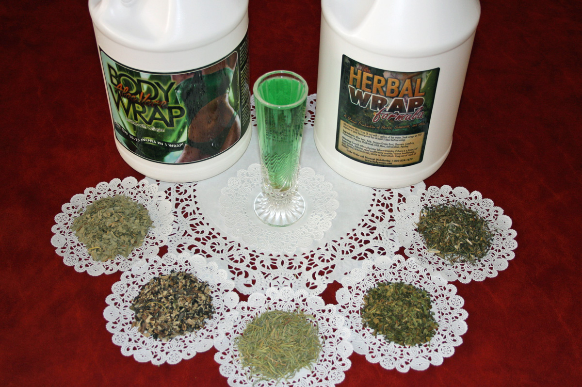 this is a photo of our body wrap formulas and recipes including aloe vera