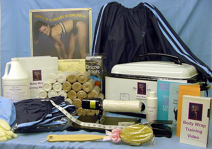 this is a photo of our body wrap kit with everything but the kitchen sink!